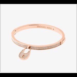 Michael Kors paved rose gold hinge bracelet lock